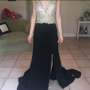 Jovani jvn black Jeweled slit dress gown prom 6